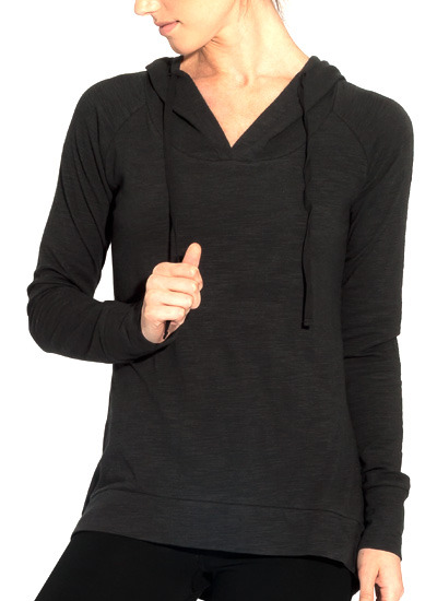 Round Tail Hoodie - Front in Black